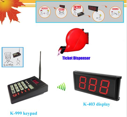 Queue calling system simple ticket dispenser with numerical keypad and monitor wireless paging can s