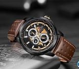 NAVIFORCE Watch Black 9142 Quartz Genuine Leather Chronograp