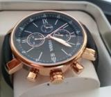 100% ORIGINAL FOSSIL Men's Chronograph Gold Navy Leather Watch from UK
