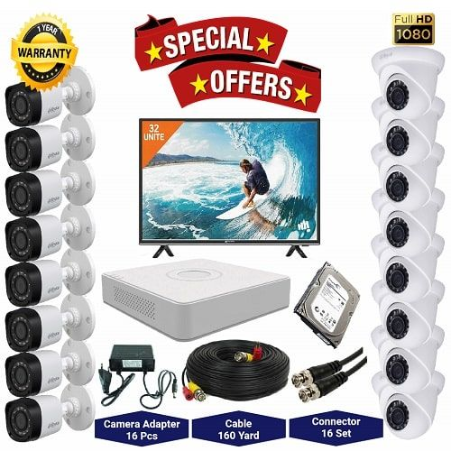"16nos Dahua 2 Megapixels Resolution HD CCTV Camera, DVR, 2TB HDD, 32"" LED Monitor Full Package"