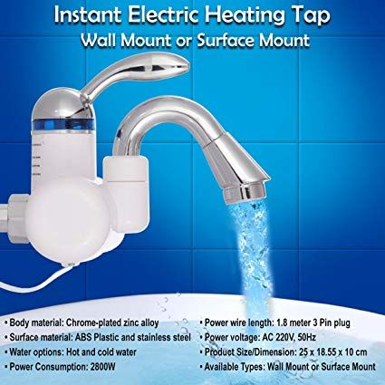 Instant Heating Water Tap Wall Mounted