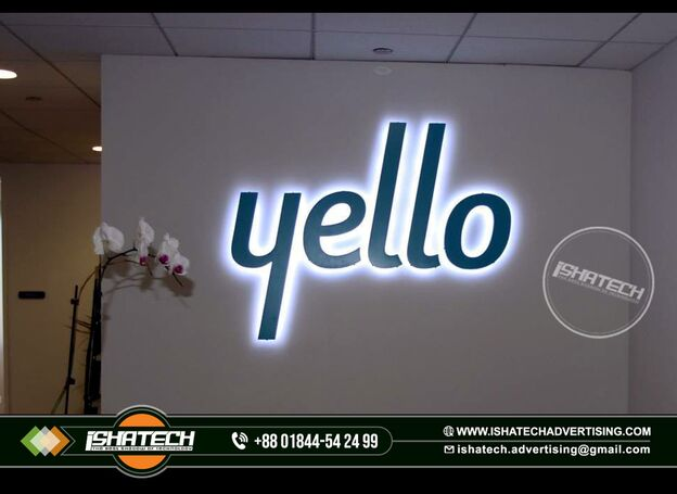 Backlit Signage Name Plate Acrylic Letter with White Color Led Light and Black & Green color Acrylic
