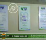 Acp Off Cut Wall Glass Name Plate & Sticker Print Pasting Reception Glass Name Plate with Bank Wall