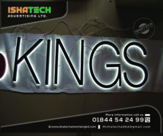 Bangladesh Outdoor & Indoor Business Custom Illuminated 3D LED Backlit Signs & Frontlit Signage Bran